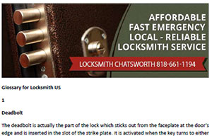 Glossary for Locksmith in Chatsworth  - Click here to download